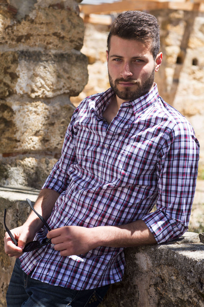 Fort Worth | Bequeme und Stretch Slim Fit Herren Casual Button Down Hemd - Li Brizzi Hemd