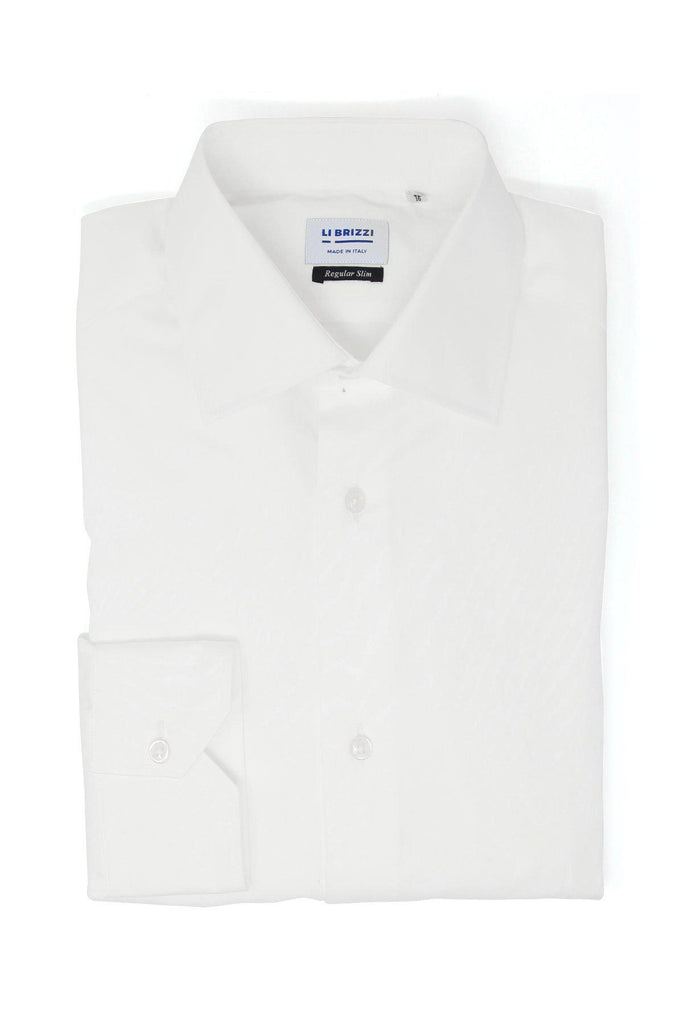 Milan | Elegant Formal Non-Iron Twill Slim Fit White Men's Dress Shirt - Li Brizzi Shirt