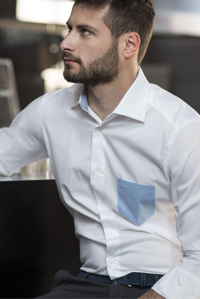 Montreal | Slim Fit White Contrast Pocket Men's Dress Shirt - Li Brizzi Shirt