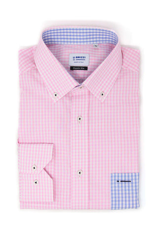 Savannah | Unique Design Slim Fit Checked Pink Men's Dress Shirt with contrast pocket - Li Brizzi Shirt