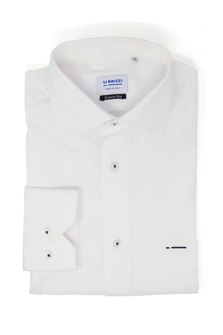 Tokyo | Modern Non-Iron Slim Fit White Men's Dress Shirt with contrast stitching - Li Brizzi Shirt