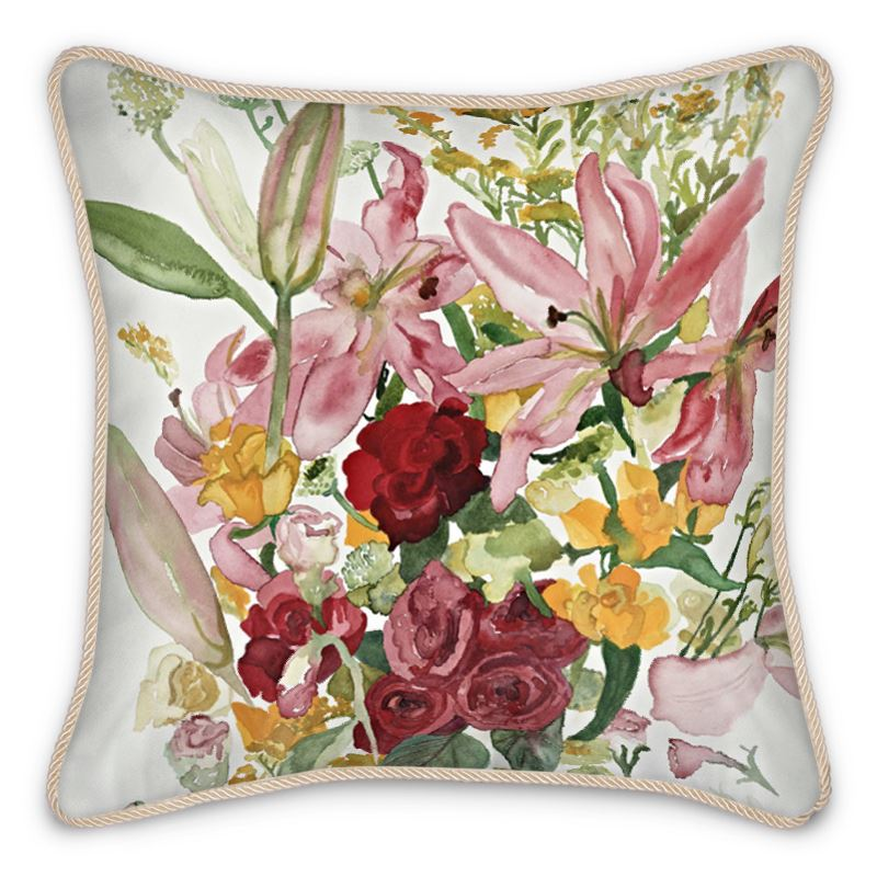 A Rose for You My Love Silk Cushion