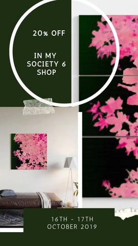 20% off at Society 6, Pink Leaves Wood Wall Art