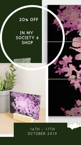 20% off at Society 6, Purple Leaves Mini Art Print & Wood Wall Art