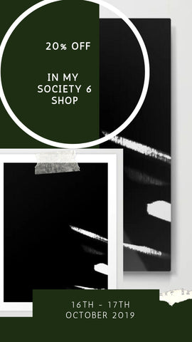 20% off @society 6, Minimal Black & White Stripes, Art Print & Metal Print