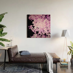 Purple Leaves Wood Wall Art