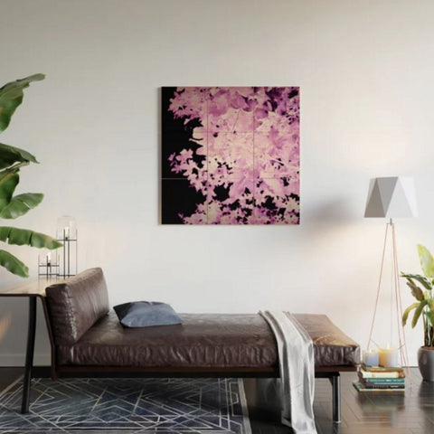 Purple Leaves Wood Wall Art @society6 #affiliatelink