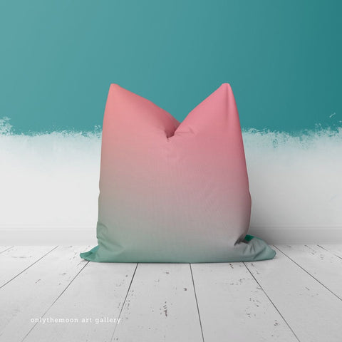 And Relax Throw Pillow in Pink and Teal by onlythemoon