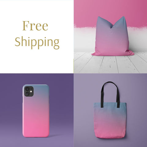 Free Shipping, Relax Collection in Pink and Blue by Onlythemoon, Throw Pillow, Tote Bag, Phone Case