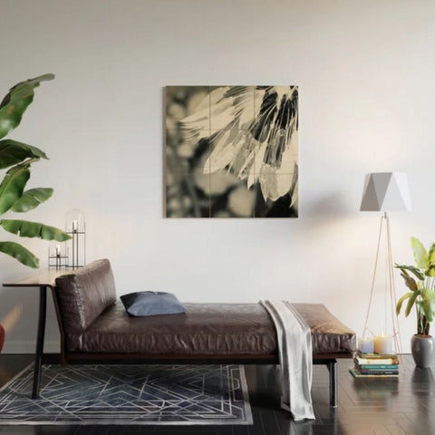 Black & White Dandelion 1 Wood Wall Art Print, Lifestyle Photo, Living room Loft-style view