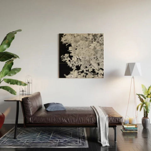 Monochrome Leaves Wood Wall Art, Loftstyle living room view