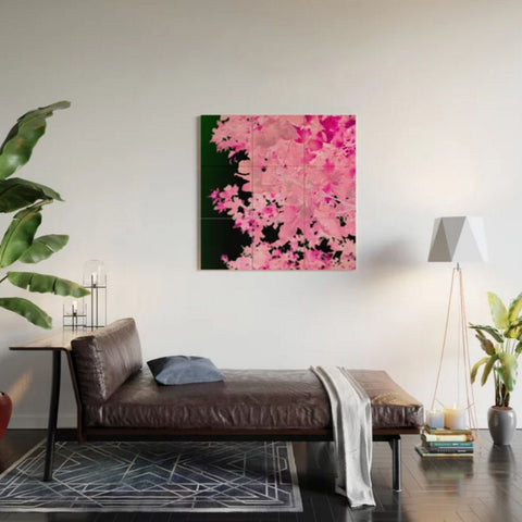 Pink Leaves, Wood Wall Art, Loft Style Living room photograph, Society 6 #affiliatelink