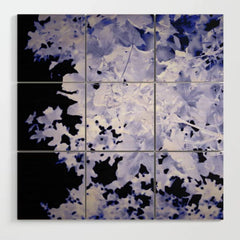 Blue Leaves Wood Wall Art