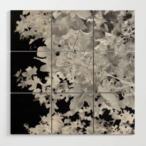 Monochrome Leaves Wood Wall Art
