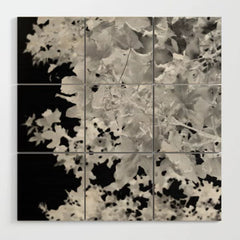 Monochrome Leaves Wood Wall Art Detail