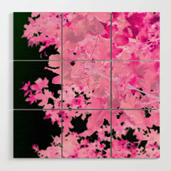 Pink Leaves Wood Wall Art