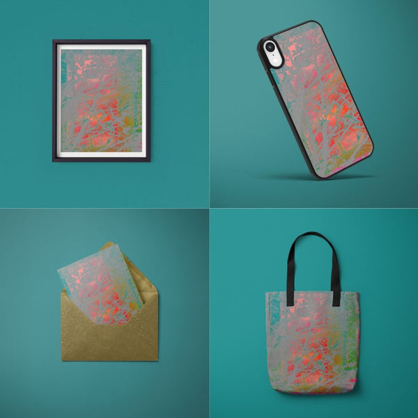Art product mock ups featuring Onlythemoon's Red Sky at Night artwork design