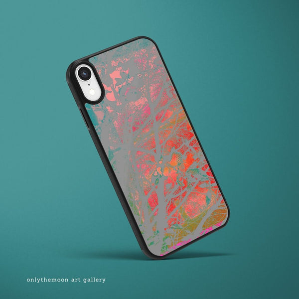 Phone case mock up featuring Onlythemoon's Red Sky at Night artwork design
