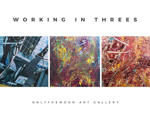Working in threes, Three works in progress, left to right, Blue collage made with paper, Purple, Yellow, Green & Blue Abstract Painting & Red & Yellow Abstract Painting