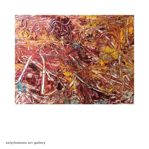 Abstract Painting with texture, Red and Yellow, Acrylic Paint on Card