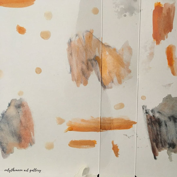 "Image 2: Change of scene, Works in Progress, Abstract Orange Grey Black Watercolour Shapes (Media, Watercolour on Card), Working Title, ""Light at the End of Tunnel"" by Onlythemoon"