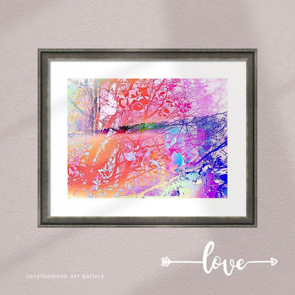 Under The Trees Colorful Framed Art Print by Onlythemoon