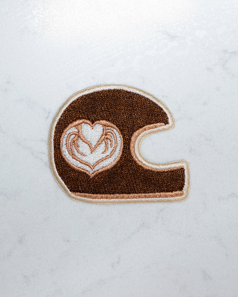 Latte Art Helmet Iron-On Patch by Great Lake Supply Co.