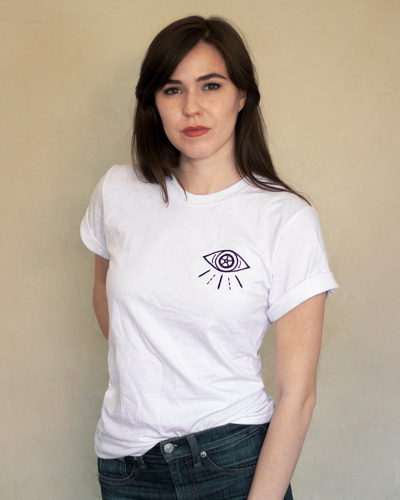 Watch for Cycles Embroidered Tee - White