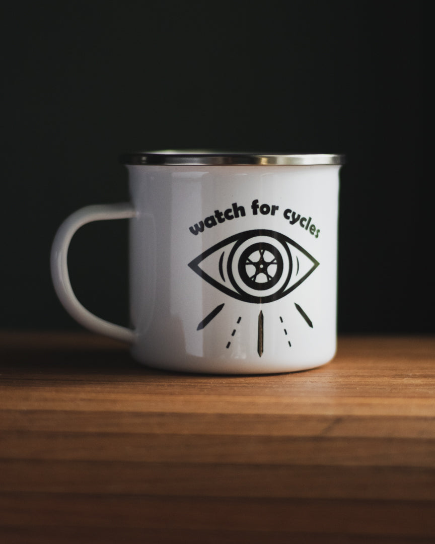 Watch for Cycles Enamel Mug