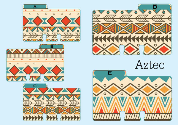 Tribal print Rolodex Dividers in 5 patterns - all are red, blue, brown, orange beige. These Aztec Rolodex dividers come in 5 different styles.