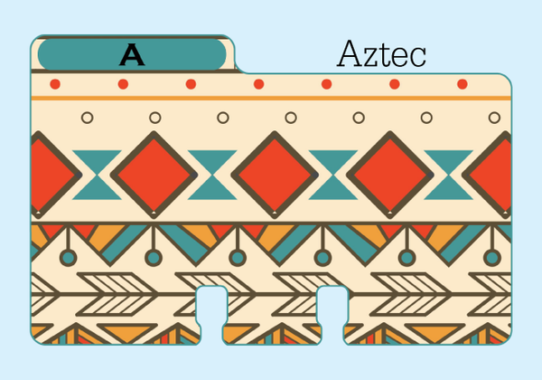 "A Rolodex Divider in a colorful beige, red, blue, orange, brown print. It is on a pale blue background with the word ""Aztec."""
