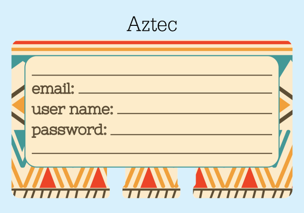 Rolodex password saver in an Aztec print: tan and brown and teal and orange