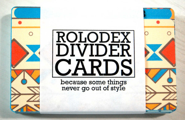 "A pack of 27 Aztec Rolodex Divider cards in a wrapper that says' "" Rolodex Divider Cards - Because some things never go out of style"""