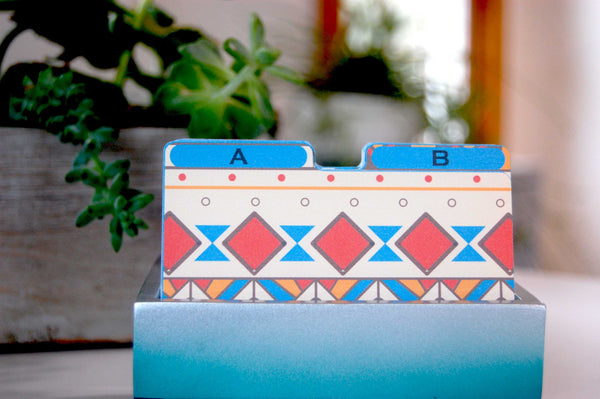 Aztec Pattern Rolodex Dividers in a pretty holder with plants in the background