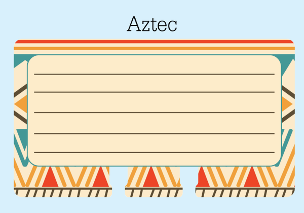 Aztec Lined Rolodex Refill Card - The center is beige with 5 brown lines for writing. The outer border is a colorful tribal print of beige, red, orange, teal, and brown.