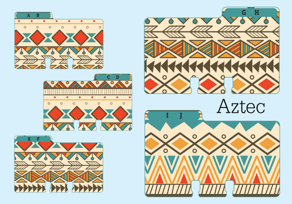 Five colorful Rolodex dividers in coordinating, yet different, tribal prints.  The cards are AB, CD, EF, GH, and IJ.