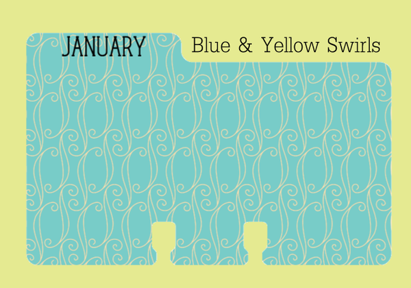 Monthly Rolodex Divider in a blue and yellow print