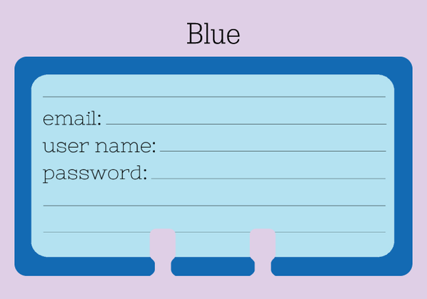 Password Rolodex cards in a pale blue with a royal blue border
