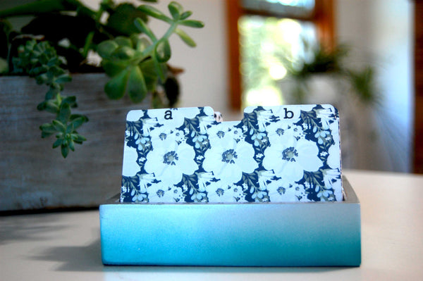 Pretty Floral Rolodex Dividers in blue and white.