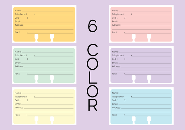 "Rolodex Contact Cards in pastel orange, green, yellow, pink, purple and blue. They are shown on a purple background with the words ""6 Color."""