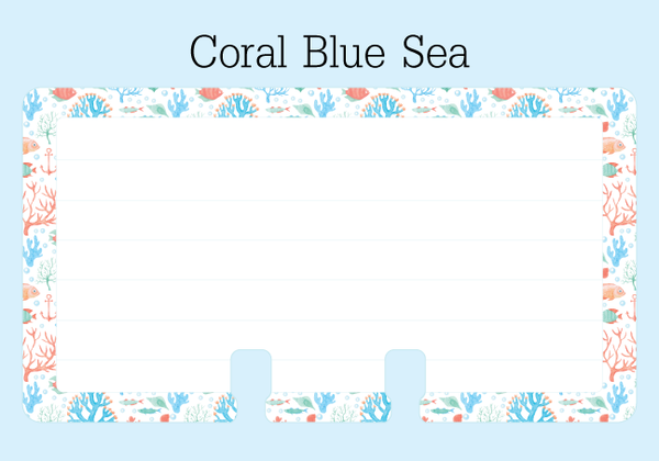 Coral Blue Sea Lined Rolodex Refill Card - The center is white with 6 pale lines for writing. The outer border is a colorful beach print in blue, coral and green.