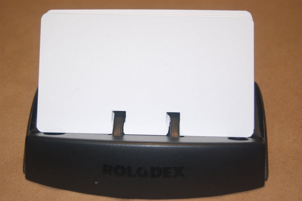 Tiny White Rolodex cards in a Rolodex Holder