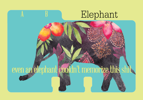 Pretty blue Rolodex divider with a colorful elephant and the letters A, B.