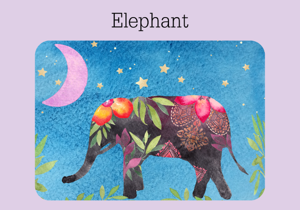 The cover of a password keeper with a blue watercolor background, a colorful elephant, greenery, stars and a purple moon
