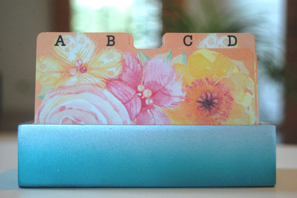 Colorful Floral Rolodex Dividers in holder