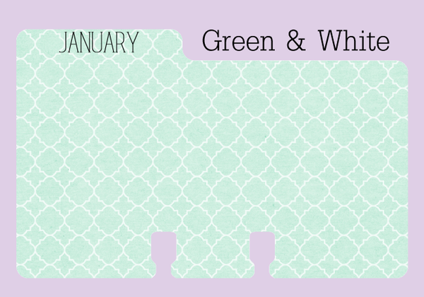 January Monthly Divider in a pale green print with white swirlst