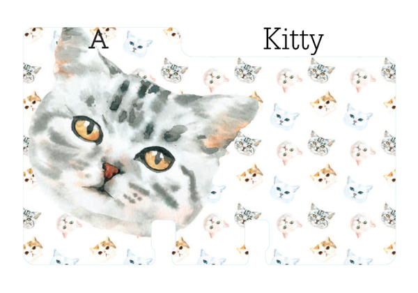 "A sturdy Rolodex Divider with a cat face and a cat print behind it. It is on a white background with the word ""Kitty."""