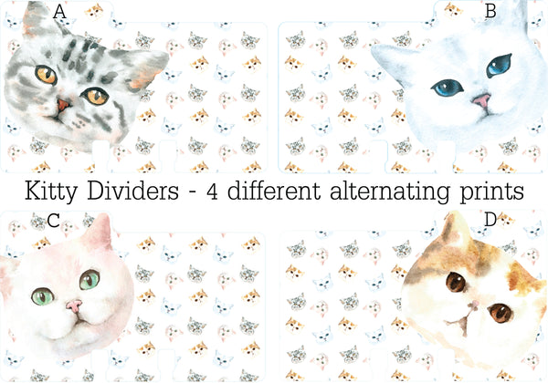 Rolodex Dividers for cat lovers - 4 different kitty faces with a kitty print background. (The Kitty Rolodex Dividers have 4 alternating styles: a tabby, a white kitty with blue eyes, a white kitty with pink ears and green eyes, and a tortoise shell kitty with brown eyes.)