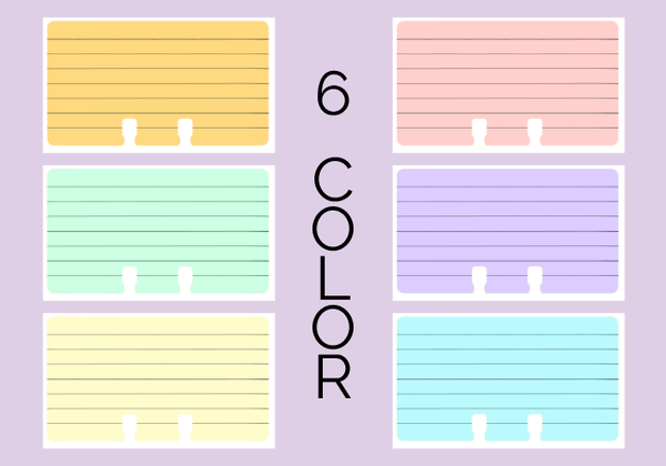 Ruled Rolodex refill cards in 6 pastel colors: orange, pink, green, purple, yellow, and blue. There are 7 gray lines for writing on each card.