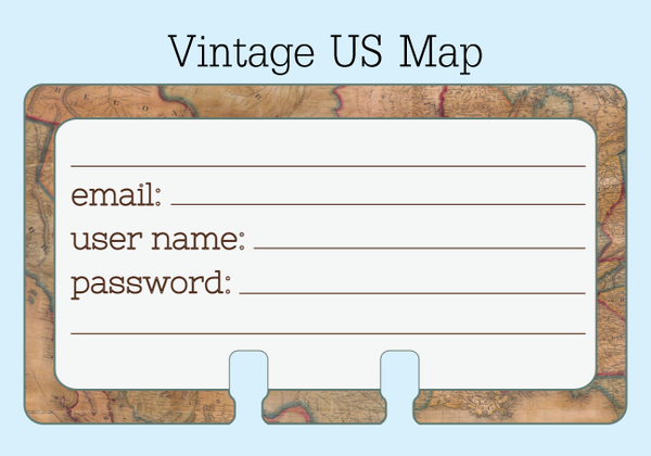 Password Rolodex cards in a vintage US map print